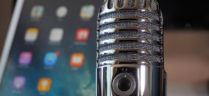 content management icon microphone with iphone